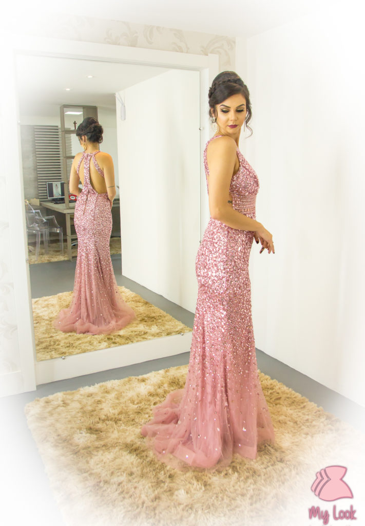 Vestido rosé pedrarias