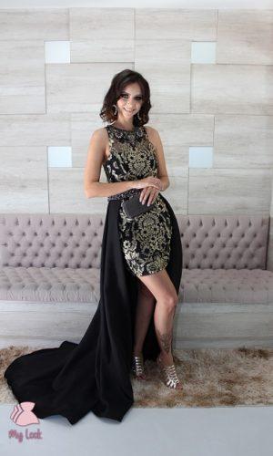 vestido preto com dourado
