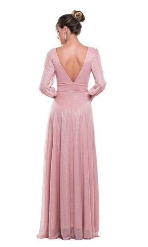 Vestido Rosa Mangas Longas L1012