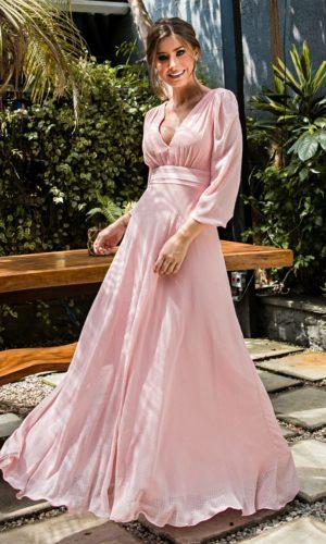 Vestido manga longa rosa L1008