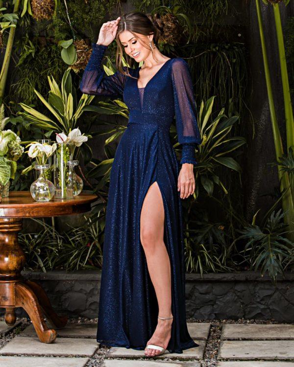 Vestido azul marinho mangas longas L1012