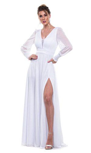 Vestido Branco Mangas Longas L1012