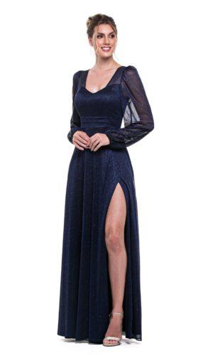 Vestido Azul Marinho Mangas Longas L1013