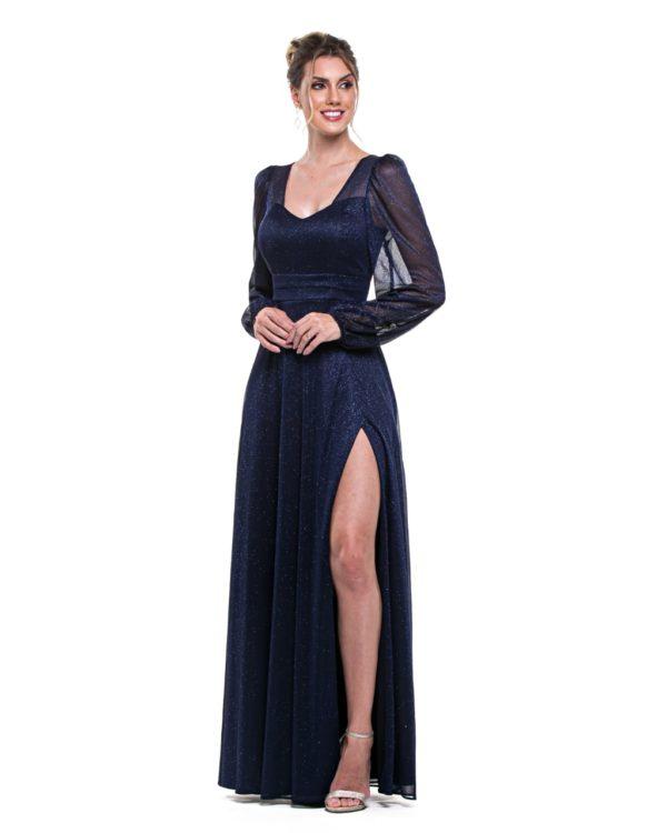 Vestido azul marinho com mangas L1013