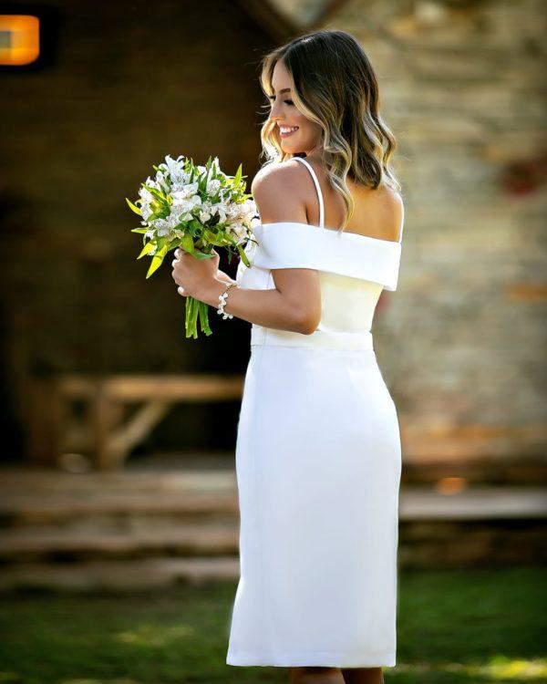 Vestido midi curto branco L1020