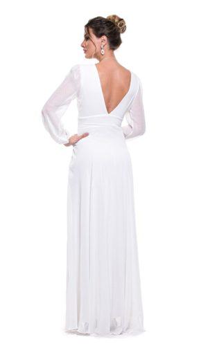 Vestido manga longa branco L1008