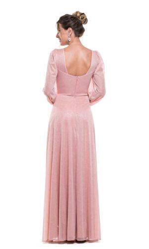 Vestido Rosa Mangas Longas L1013