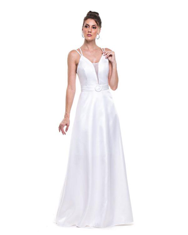 Vestido longo branco L1005